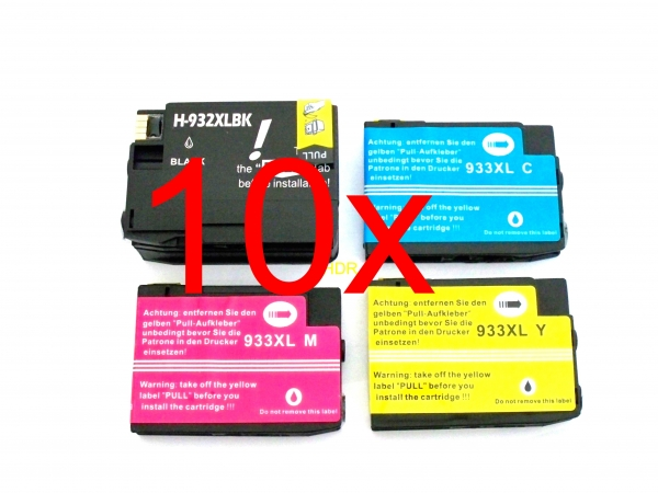 10x Tintenpatronen f. HP Officejet 6100 Eprinter / 6600 e-All-in-One / 6700 Premium / 7610 e-All-in-One kompatibel zu HP 932XL / HP 933XL mit Chip und Füllstandsanzeige HP 932 4222